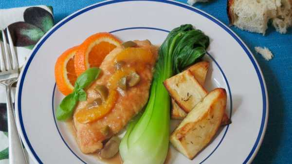 Serve chicken cutlets with tart orange sauce and olives