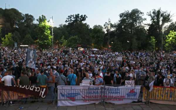 Protests Continue Outside Serbian Parliament Despite Coronavirus Curbs